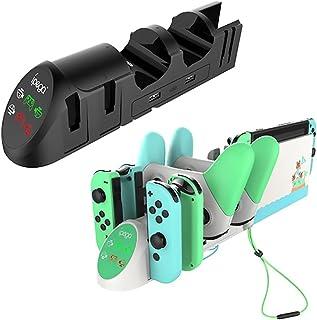 充電スタンド Switch用 Joy-Con 充電 4台ジョイコン 2台Proコントローラー 同時充電可能 Switch ハンドルリストストラップソケット 収納 (ブラック)