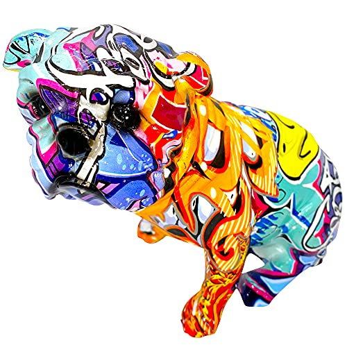 Colorful Art Bulldog Statue Figurine - Collectable Graffiti Art Bulldog Statues and Sculptures for Home, Living Room, Office, Kitchen, Desktop, Home Decor Interiors
