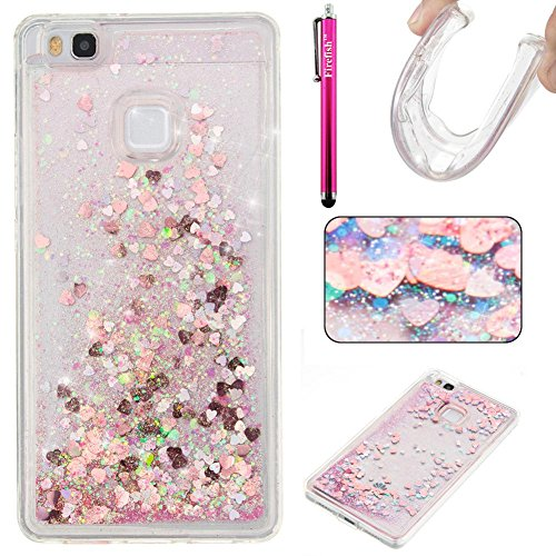 Huawei P9 Lite Case, Firefish Glitter Liquid Cover Slim Soft TPU Rubber Silicone Case Impact Resistant Durable Protective Case for Huawei P9 lite -Pink