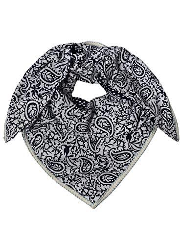 Zwillingsherz Dreieckstuch aus 100% Viskose - Hochwertiger Dreiecksschal Paisley Design für Damen Jungen Mädchen - Uni - XXL Hals-Tuch und Damenschal - Frühjahr Sommer Herbst Winter
