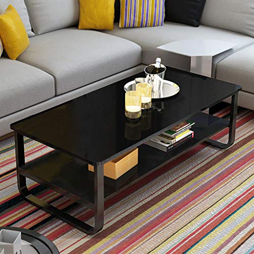 Ketteb Modern Home Coffee Table 2-Tier Cocktail Table with Storage Shelf for Living Room Look Accent Furniture with Metal Frame Modern Studio Collection Classic Rectangular Coffee Table (Black)