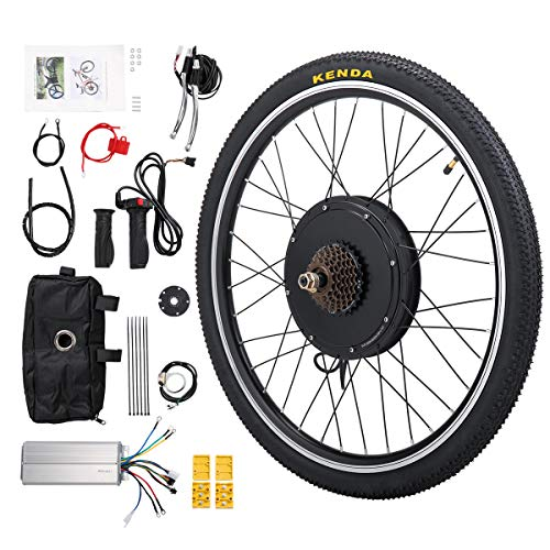 """Sandinrayli 26"""" Rear Wheel 48V 1000W Electric Powered Bicycle Motor Cycling Conversion Kit with LCD Display"""
