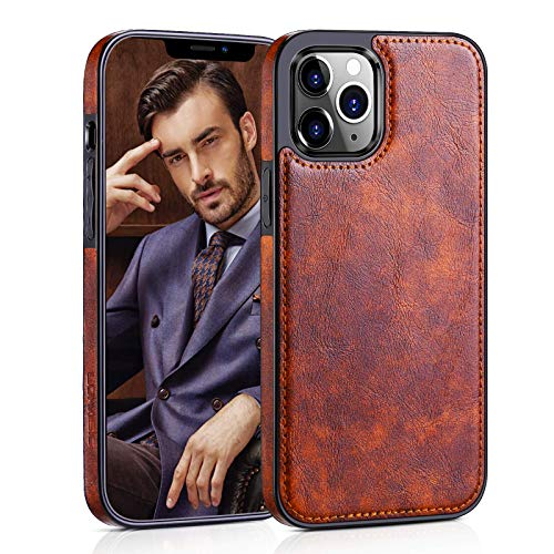 """LOHASIC Compatible with iPhone 12 Mini Case, Premium Leather Slim Luxury PU Non-Slip Grip Rugged Bumper Shockproof Full Body Protective Cover Phone Cases for iPhone 12 Mini 5.4"""" (2020) - Vintage Brown"""