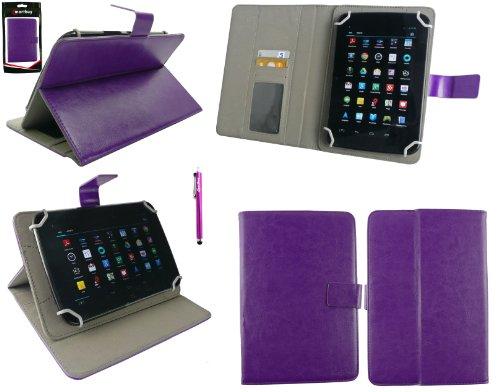 Emartbuy® Lila Eingabestift + Universalbereich Lila Multi Winkel Folio Executive Wallet Tasche Etui Hülle Hülle Cover mit Kartensteckplätze Geeignet für I.onik TP - 1200QC 7.85 Inch Tablet