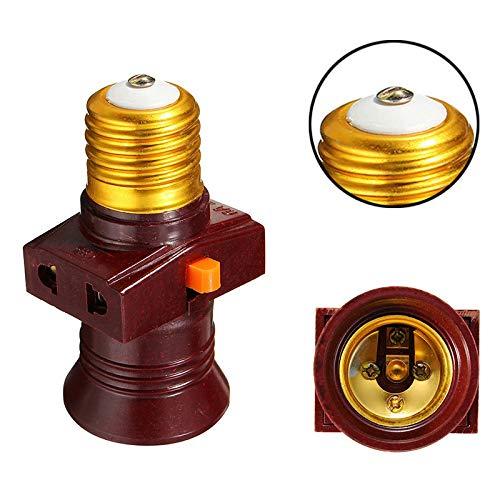 Portalámparas Ladro con casquillo de rosca E27 pasante con interruptor y 2 tomas de corriente universales de 6 A 220 V en derivación Ruba Corriente Vintage EG-SHOP