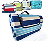ANJ Outdoors XXL 3-Layer Waterproof Outdoor Blanket for Picnic, Beach and Camping | Soft Fleece 79' x 71' (Blue Stripe)