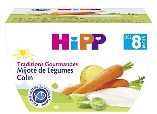 Hipp Biologique Traditions Gourmandes Mijoté de Légumes Colin dès 8 mois - 8 bols de 190 g