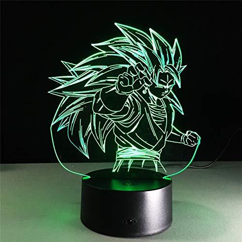 Bosi General Merchandise Dragon Ball Z, Goku, 3D, luz Nocturna LED, Super Saiyan, Modelo de acción, 7 coloresusión óptica DBZ Goku Super Saiyan Mesa lámpara Decoración