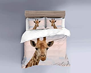 MILDLY Duvet Cover Sets 3 Pieces Brushed Mircrofiber Fabric Duvet Cover Queen Size Zipper Closure with Two Pillow Cases Lovely Giraffe Animal Pattern Digital Printed