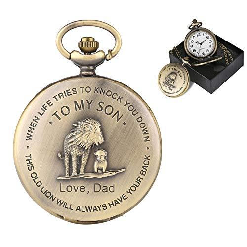 To My Son Movie The Lion King Cover Anhänger Quarz Taschenuhr Herren Retro Bronze Halskette Kette Uhr Geschenke für Jungen Sohn