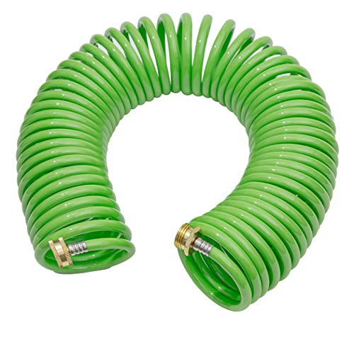 GREEN MOUNT Coil Garden Water Hose Premium PU with Brass Connectors Retractable Heavy Duty 50 ft Recoil RV Boat Hose