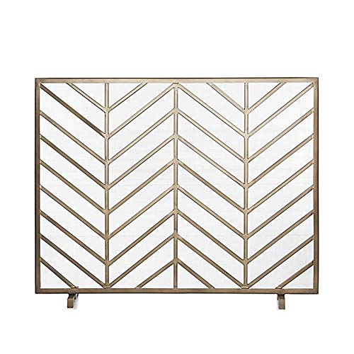 Purchase Small Single Panel Fireplace Screen, Wrought Iron Frame with Metal Mesh, Indoor Outdoor Fre...