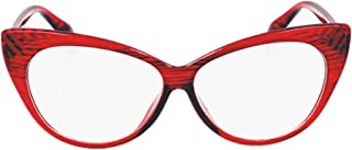Super Cat Eye Glasses Vintage Inspired Mod Fashion Clear Lens Eyewear (Red)