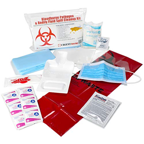 21 Piece Bodily Fluid Clean Up Pack/Bloodborne Pathogen Spill Kit - be OSHA Compliant and Protect from Dangerous Exposure to Blood and Other potentially infectious Materials