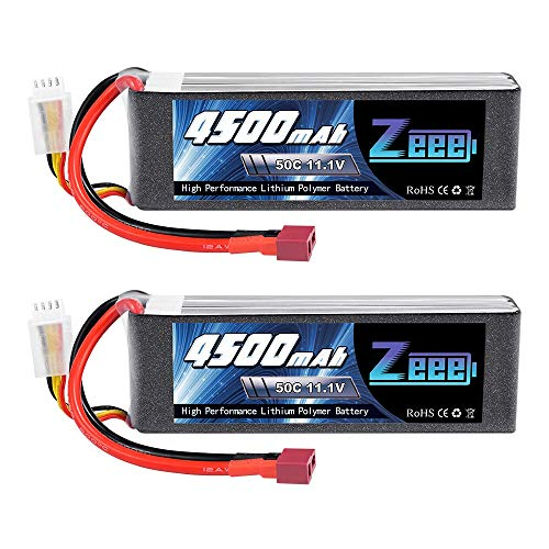 Zeee 3S LiPo Akku 11,1V 4500mAh 50C RC Batterie mit Deans T Stecker für RC Car RC Truck RC Auto Boot Helicopter LKW RC Hobby Truggy (2 Packungen)