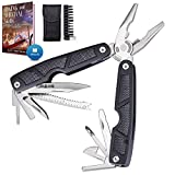 Multitool 25 in 1 Multi Tool Knife with Sheath and Bits - Survival Camping EDC Multi-Tool for Men - Best All In One Pocket Multitools Pliers - Black All in 1 Multipurpose Tool Gear Accessories 2237
