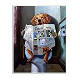 Stupell Industries Dog Reading The Newspaper On Toilet Funny Painting Wall Plaque, 10 x 15...