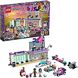 Build a creative tuning shop with showroom, lifting platform, office, two go-karts, launcher and lots of elements to customize Includes Emma and dean LEGO friends mini-doll figures, plus Chico the cat figure Accessory elements include car polish bott...