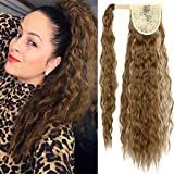 HOMETA 22 Inch Long Corn Wave Ponytail Extension Wavy Synthetic Wrap Around Ponytail Magic Paste Hairpiece for Black Women