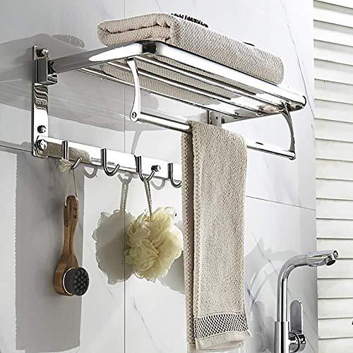 DNSJB Estante de una sola planta sin perforaciones marco de acero inoxidable toallero artículos de tocador marco de almacenamiento cosmético estante de baño