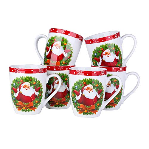 VEWEET, Porzellan Kaffeebecher 6-teilig Set, Serie SANTACLAUS, Große Becher, Kaffeetassen 360 ml für Tee, Milch, Kaffee, Frühstückservice