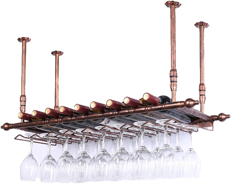 Obtén lo ultimo Estantes del Stemware Metal Colgante de parojo parojo parojo Estante del vino   Estante de parojo Loft de hierro metálico Estante de techo   Bastidores de vino de almacenamiento   Colgante de botella de vino y port  tienda de venta