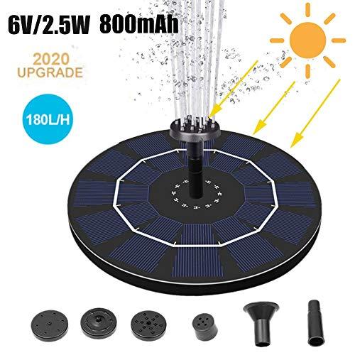 Ardentity Fontein op zonne-energie, 2,5 W, voor buiten, drijvend, met 6 sproeiers voor cilinder vogels, aquarium, decoratie voor vijver of tuin