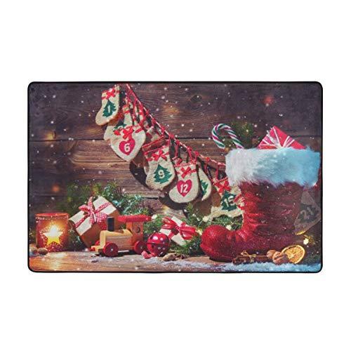 Bestpillow Alfombra de baño,Fondo navideño,Calendario de adviento y Alfombra de baño de Zapatos de Santa 75cmx45cm