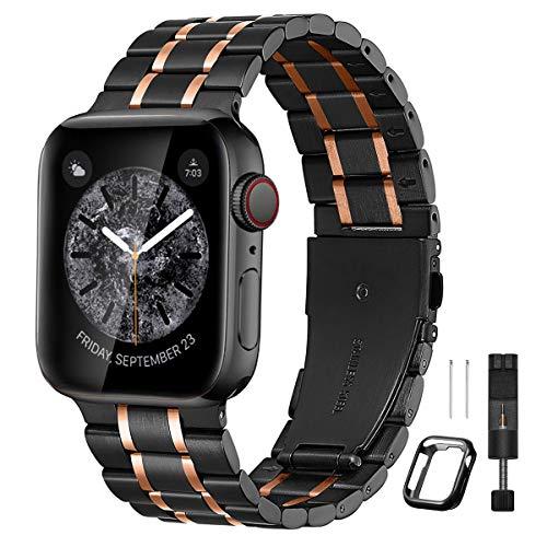 BesBand コンパチブル apple Watch バンド 38mm 40mm 42mm 44mmと互換性のあるアップグレードバージョンソリッドステンレススチールバンドビジネス交換,apple Watch交換用ストラップウィメンズメンズ, iwatch SE/Series 6 5 4 3 2 1(42mm 44mm, マットブラック/ポリッシュローズゴールド)