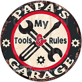 Papa'S My Tools My Rules Garage Chic Tin Sign Rustic Shabby Vintage Style Retro Kitchen Bar Pub Coffee Shop Man cave Garage Decor Gift Ideas