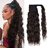 Corn Wave Ponytail Extension Clip in - 22 Inch Long Wavy Curly Wrap Around Pony Tail Heat Resistant Synthetic Hairpiece for Women (Black Brown #2)