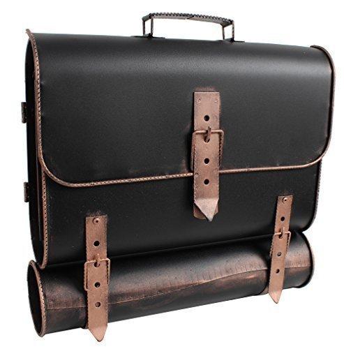 Briefkasten mit Zeitungsrolle – Schulranzen-Design macht den Postkasten zum Hingucker -  Wand-Briefkasten mit Zeitungsfach links öffnend – Bronze-Vintage-Look – (HxBxT)37x40x10cm