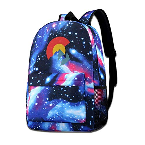 AOOEDM School Bag,Colorado Flag School Backpack Galaxy Starry Sky Book Bag Kids Boys Girls Daypack
