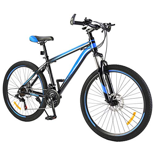 Men's Mountain Bike Hardtail with 26 Inch Wheels, Lightweight Aluminum Frame MTB Bicycle with Dual Disc Brakes, Adult Bike for Men with 100mm Travel Front Suspension Fork (Blue, 21 Speed)