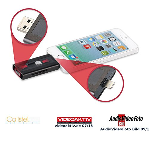 Callstel iPhone Speicher: microSD-Speichererweiterung für iPhone & iPad, MFi-zertif, bis 128 GB (iPhone Stick)