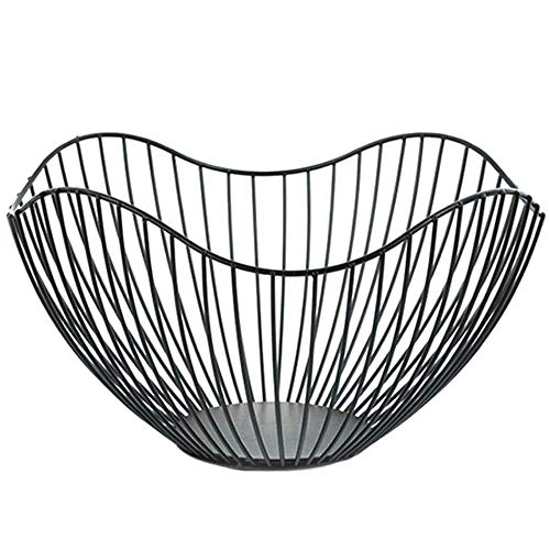 Miner Metal Wire Fruit Container Bowls Stand para encimera de Cocina Moderna Grandes cestas de Almacenamiento Negras Redondas, Negras