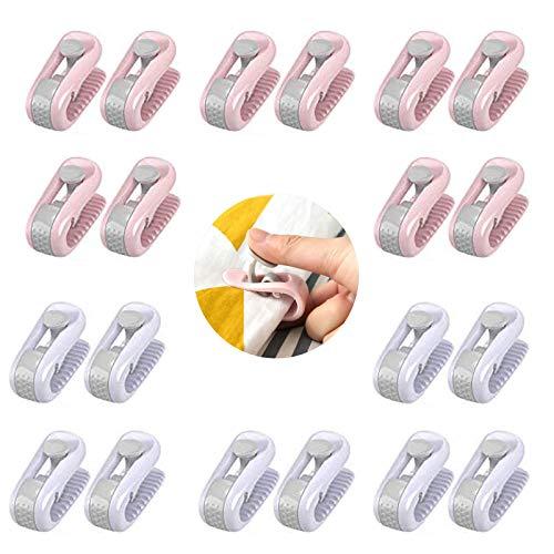 20 Stück Bettdeckenbezug-Clips, Tragbare Bettlaken Greifer Clip, Bettdeckenbezug Clips ohne Nadeln, Prevent Bunching and Shifting, für Bettwäsche, Vorhänge, Socken und Kleidung verwendet(Purpur, Rosa)