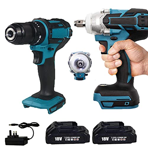 18V 2 x 3.0Ah Li-ion Combi Drill Impact Driver Impact Wrench Cordless Brushless Twin Kit Set Replacement for Makita DHP and DTD …