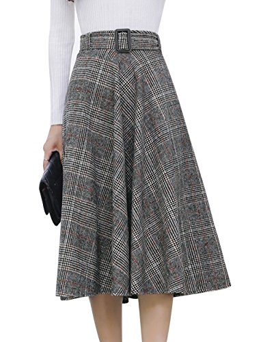 Tanming Women's Elastic Waist Belted Wool Blend Check Plaid Midi Skirt (Medium, Orange)