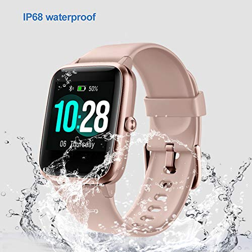 YAMAY Smart Watch Fitness Tracker Watches for Men Women, Heart Rate Monitor IP68 Waterproof Digital Watch with Step Sleep Tracker Call Message Alerts,Smartwatch Compatible iPhone Android Phones Pink 3