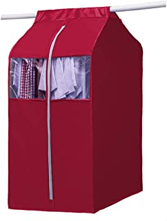 Large Hanging Clothing Storage Wardrobe, Frameless 420 D Oxford Garment Closet Organizer Protector, Zippered Garment Bag with Magic Tape and Clear Window(Rose Red Wine, L:19.7x23.6x44inch)