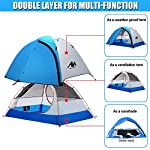 2 Person Backpacking Tent and Camping Tents, AYAMAYA Ultralight Waterproof Double Layer Easy Setup 2 Doors Lightweight 2 Man People Backpack Tent for Couples Hiking Fishing Motorcycle Bikepacking 115