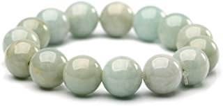 NW 1776 Natural Authentic Jade Jade Beaded Elastic Bracelet, 13.5 mm Jade Bead Bracelet Designed for Good Fortune Courageo...