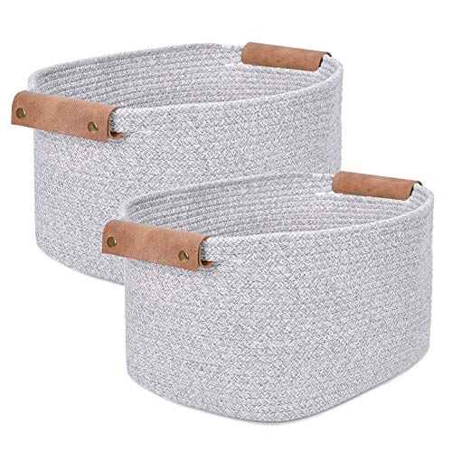 Labcosi Cotton Woven Rope Storage Basket with Leather handles, Nursery Storage Bins and Organizer for Living Room, Bedroom, Closet, Shelves, 2-pack, Light Grey, 14''L x 11''W x 8''H