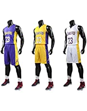 XCR Kinderen Jongens Meisjes Mannen Volwassenen NBA Lebron James #23 LBJ LA Lakers RETRO Basketbal Jerseys Zomer Pakken Kits Top+Shorts 1 Set