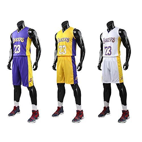 XCR Kinder Jungen Mädchen Herren Erwachsene NBA Lebron James # 23 LBJ LA Lakers Retro Basketball Trikot Sommeranzüge Jersey Kits Top + Shorts 1 Set (Purple (Lila), L (Kids))