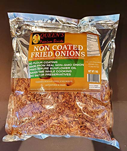 Queen's Premium Birista Non-Coated Fried Onions- 100% Natural, Gluten Free, Vegan, Made With Real Onions (2.2 Pounds)