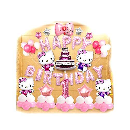 Los Globos De Látex For El Partido Globos Decoración De Fiesta, Fiestas De Cumpleaños Suministros O Arco Decor, Hello Kitty Set Globo, Cat Girl Kt Fiesta De Cumpleaños De Un Año Temáticas Decoración D