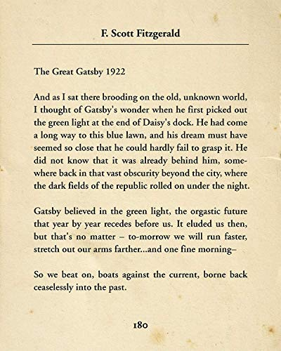 F. Scott Fitzgerald The Great Gatsby - Wall Decor Art Print - 8x10 unframed typography book page print - great gift for book and literary fans