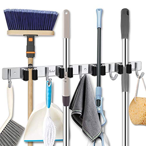 Favbal Broom Mop Holder Wall Mount Stainless Steel Wall Mounted Storage Organizer Heavy Duty Tools Hanger with 4 Racks 5 Hooks for Kitchen Bathroom Closet Garage Office Garden